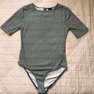 Forever21 girls plaid print bodysuit